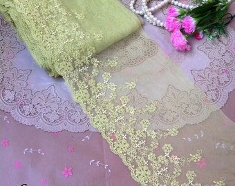 Vintage Mesh Embroidery Flower Lace Trim 6.69 Inches Wide 1.09 Yard/   Craft Supplies, WL1733