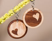 TWO Wood Inlay Keychains - Pair - Happy Hearts Couple's Gift
