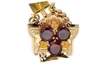 """Estate 14k HEAVY Yellow Gold Slide Charm Red Garnet Solid 7/8"""" wide 4.7g Embossed Victorian 14kt 14 k kt Antique Vintage Genuine Shield Leaf"""