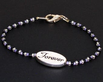 Purple Black and Silver Seed Bead Forever Bracelet