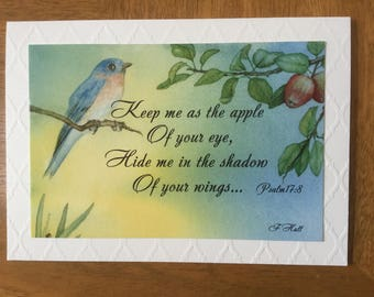 "Psalm 17:8, greeting card ""Keep me as the apple of your eye, Hide me in the shadow of your wings..."