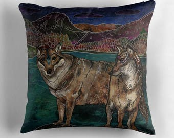 Wolf Love - Pillow, Wolf Pillow, Wolves Pillow, Animal Pillow, Whimsical Art, Illustration, Nature Lover, Wolf Couple, Wildlife Pillow,Pagan