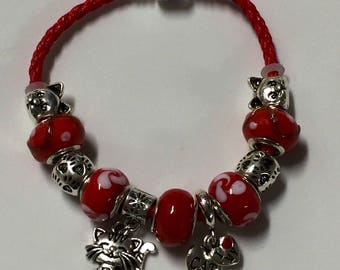 Red I love my cat European charm bracelet