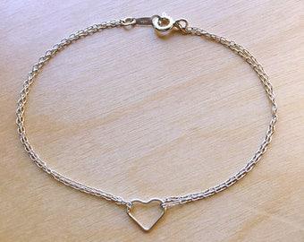 Tiny open heart bracelet//925 silver//Minimalist//Dainty//Delicate//Everyday//SS004