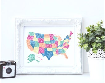 Chalkboard map etsy usa map collage hand lettered usa print usa chalkboard print blank usa map gumiabroncs Gallery