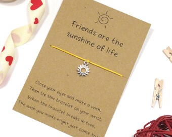 sun bracelet, best friends appreciation wish bracelet, friendship gift, bff bracelet, best friend bracelet, thank you string bracelet & card