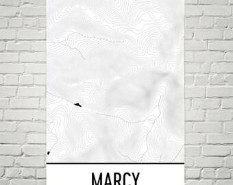 Mount Marcy Print, Mt. Marcy New York Poster, Adirondack Mountains, High Peaks, Adirondack Map, Adirondack Decor, Mountain Art Print
