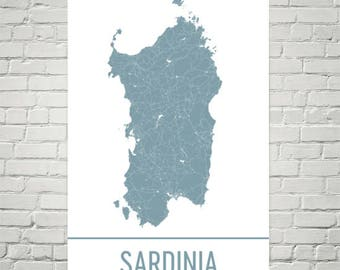 Sardinia Map, Sardinia Art, Sardinia Print, Sardinia Island Poster, Gifts, Map of Sardinia, Mediterranean Islands, Mediterranean Decor