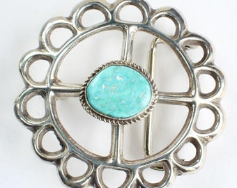 Turquoise Native American Belt Buckle Navajo Indian Sterling Silver