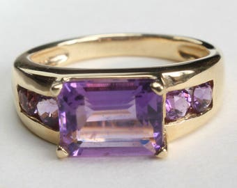 14k Gold Ring Amethyst Emerald Cut Channel Set Gift for Her February Birthstone Birthday