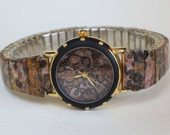 Natural Real Leopard Skin Jasper Stone Watch Band Face Womens Gift for Her Stretchy Band