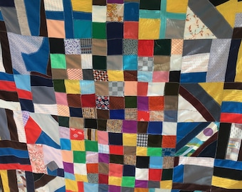Midcentury Modern Quilt, Cubist/Modernist 1960s (Homemade/Folk/Machine-Stitch)