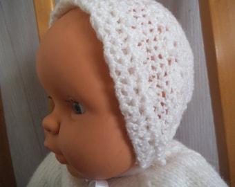 Crochet christening bonnet
