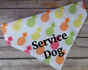 Service Dog Bandana / Therapy Dog Bandana / Pineapple Dog Bandana / Dog Scarf / Dog Bandana / Over the Collar / Summer Dog Bandana