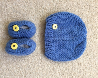 Baby Hat and Booties Set, Size 0-6 Months