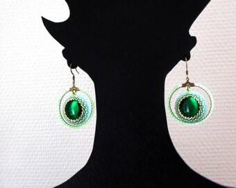 Earrings vintage vitrail crystal hoop earrings.