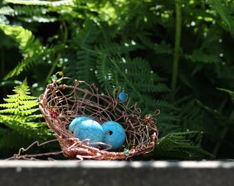 Copper Bird Nest Sculpture