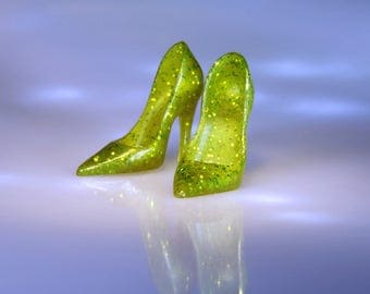 "Fashion Dollshoes for 12"" Dolls - Lime Green HighHeel Doll Shoes - Miniature High Heels for Silkstone & Fashion Royalty Dolls"