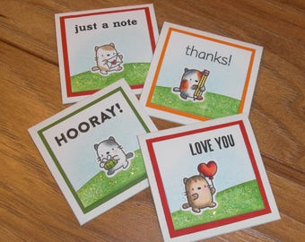 Tiny messages, set of four, cats #1!