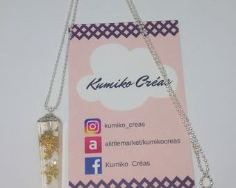 Elongated square resin necklace with gold leaf