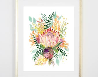 Protea Floral Art Print / Watercolor / Gifts for her / Home Decor / Gift for mom / Floral Decor/ Floral Art / Girls Room / Original Art