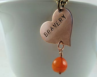Undertale Necklace:  Bravery with Orange Glass Bead