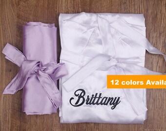 Bridesmaid Robes Set of 8, Bridesmaid Gifts set, Monogram Bridesmaid Robe, Bridal Party Gifts Robes, Satin Robes, Bride Robe, Bridal Robe