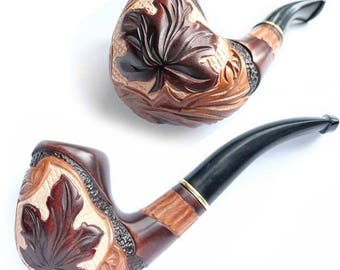"""Pocket smoking pipe """"Maple Leaf"""", Smoke Tobacco pipe, Wooden smoke pipe hand carved of pear wood, FREE SHIPPING"""