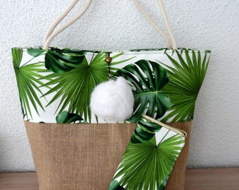 Glasses case and bag set of palm leaves and burlap