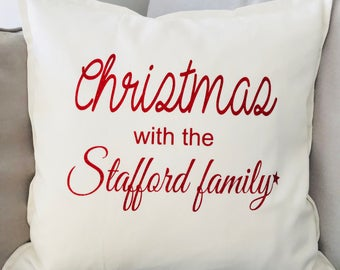 Christmas cushion, personalised Christmas cushion, family cushion, name cushion, home decor, new home gift, Christmas gift, xmas present