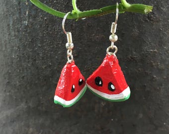 Little Watermelon Slice Polymer Clay Earrings