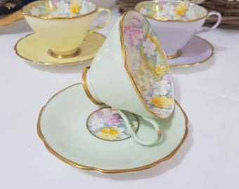 PARAGON 'Smiling June' RARE Vintage Cup & Saucer Set, Gorgeous Pastel GREEN, Made In England c1935-