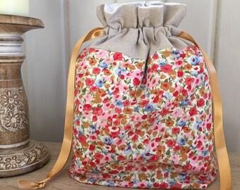 Sock knitting / crochet project bag - floral