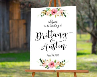 Bohemian Wedding Sign, Wedding Welcome Sign, Printable Wedding Sign, Welcome Wedding Sign, Floral Wedding Sign, wedding sign - US_WSa1