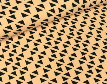 Cotton Jersey Malo triangles black on apricot (9,90 EUR / meter)