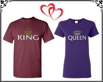 Rey Reina par camiseta Rey Reina con corona par camiseta Rey Reina par tes Rey Reina camiseta regalo para pareja