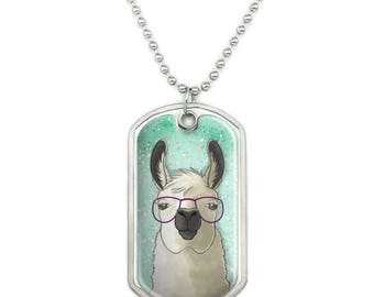 Hip Llama with Glasses Military Dog Tag Pendant Necklace with Chain