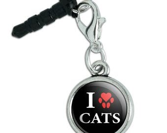 I Love Cats Heart with Paw Print Mobile Cell Phone Headphone Jack Anti-Dust Charm fits iPhone iPod Galaxy