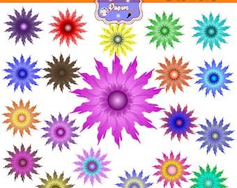 Flowers Clipart, colorful flowers, blue flower, green floser, orange flower, pink flower, yellow flower, red flower, purple flower