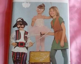 Children's Halloween Pattern Butterick 4010 Ballerina, Pirate, Peter Pan Uncut