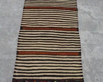 45% BIG SALE 4'5 x 1'10 FT Vintage Afghan Handwoven Striped Sofrah Kilim Runner