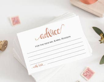 Marriage Advice - Advice Cards - Advice Card Template - Marriage Advice - Rose Gold Wedding - PDF Advice - Downloadable wedding #WDH878PL891