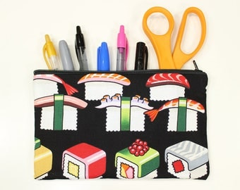 "Sushi Pencil Pouch – 8"" x 5"" Sushi Make Up Bag – Sushi Pouch – Sushi Zipper Bag – Sushi Bag – Sushi Make Up Pouch – Sushi Pencil Bag"