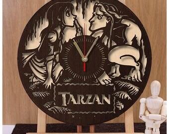 Tarzan Wooden Clock| Disney Clock| Plywood Clock| Disney Gift| Wall Clock w187| Tarzan Clock| Disney Horloge| Tarzan Clock