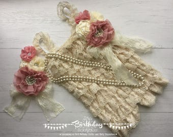 1st Birthday Girl Outfit| Baby Girl Romper| Girl Photo Outfit| First Birthday Girl Outfit| Cake Smash Outfit| Vintage Lace Romper|6-18 Month