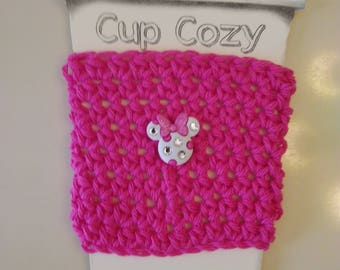 Minnie Mouse Crochet Coffee Cozy, Coffee Sleeve, Stocking Stuffer
