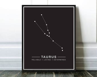 Taurus Constellation Print, Astrology Print, Horoscope Printable, Astrologie Taureau, Affiche Constellations Taureau, Download Modern Art