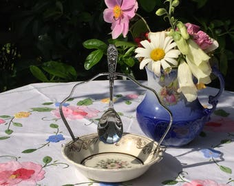 Vintage jam dish and spoon, Dog Rose pattern, Grindley ENGLAND, Preserve dish, serving dish