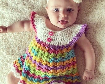 Baby dress Crochet baby angel wings pinafore 0-3 months rainbow multi color
