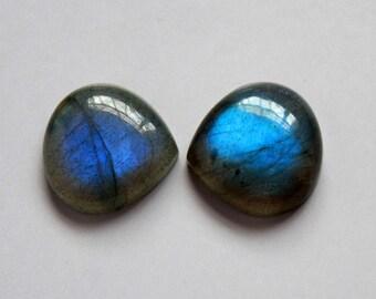 2Pcs 20mm 38Cts. 100%  Natural Labradorite Blue Fire Genuine Heart Shape Labradorite Cabochon Jewelry Making Handmade Gemstone
